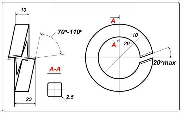 Схема шайбы одновитковой М27